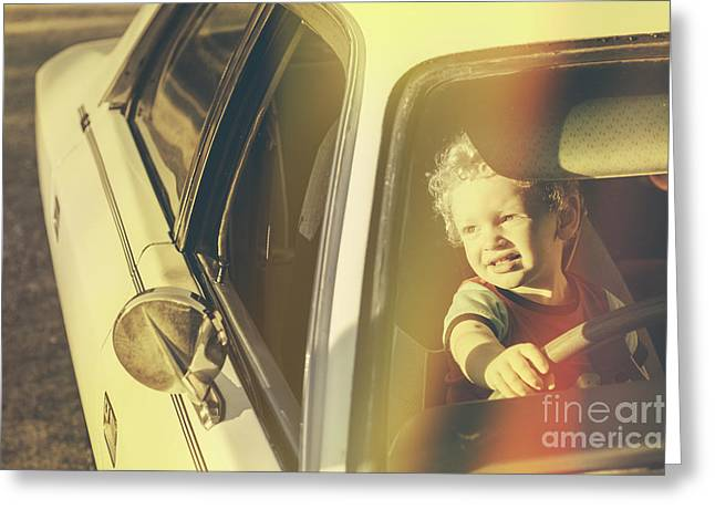 Playing Car Greeting Cards - Cool retro kid riding in old fifties classic car Greeting Card by Ryan Jorgensen