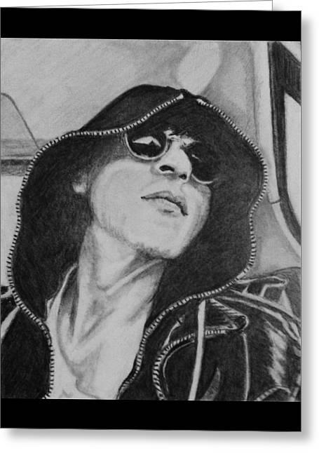 Hoodies Drawings Greeting Cards - Cool Shah Rukh Khan in Hoodie and Shades Greeting Card by Linda Prediger