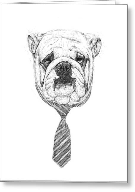 Black And White Drawing Greeting Cards - Cooldog Greeting Card by Balazs Solti