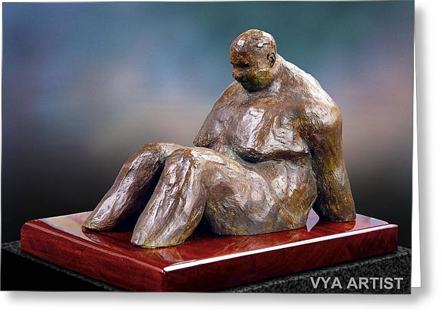 Seated Sculptures Greeting Cards - Cooling Off Greeting Card by Vya Artist
