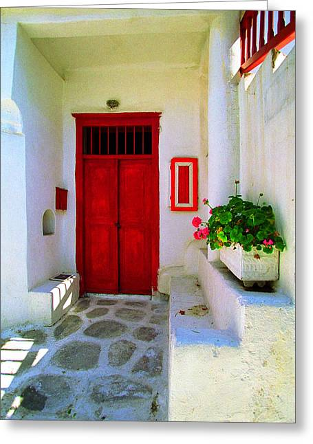 Santorini Greeting Cards - Cooling Shadows-Santorini Greeting Card by John Galbo