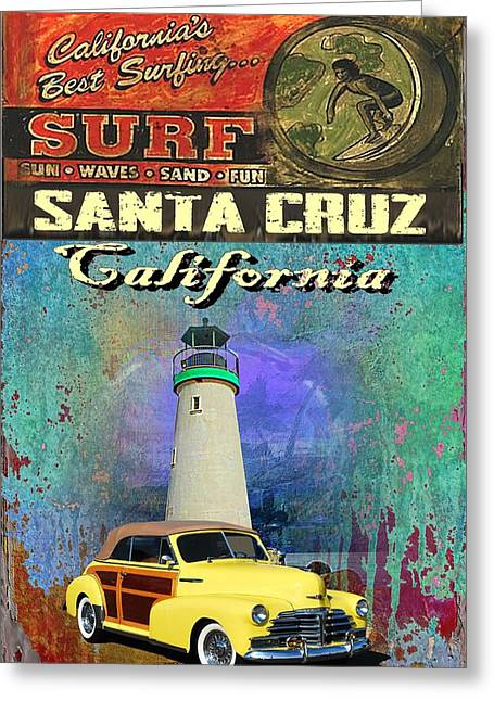 Santa Cruz Surfing Greeting Cards - Cooper Chevy Greeting Card by Phil Hamilton