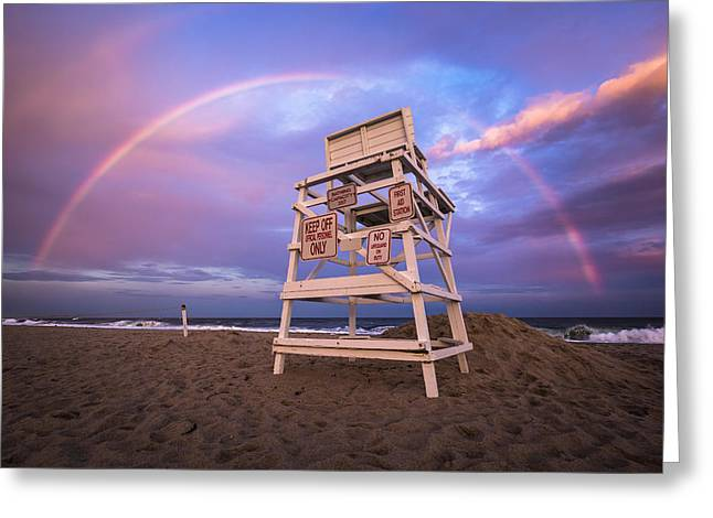 Hamptons Greeting Cards - Coopers Beach Rainbow Greeting Card by Ryan Moore