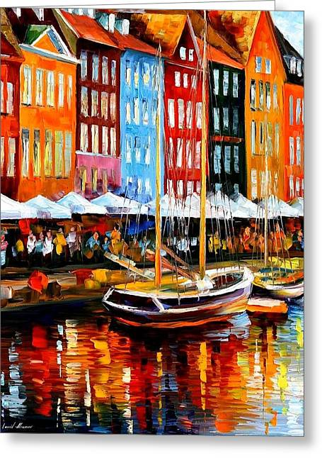 City Canal Greeting Cards - Copenhagen Denmark Greeting Card by Leonid Afremov