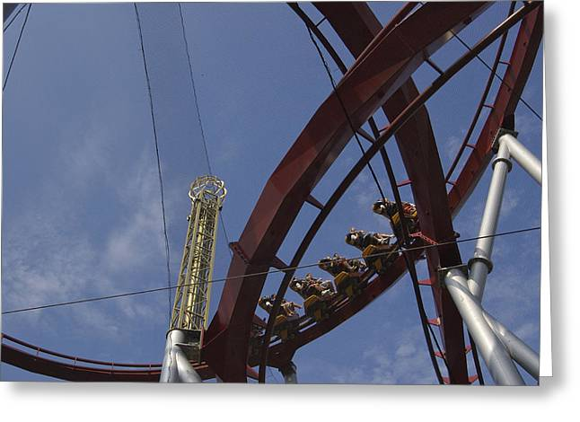 Rollercoaster Photographs Greeting Cards - Copenhagen, Denmark, Rollercoaster Ride Greeting Card by Keenpress