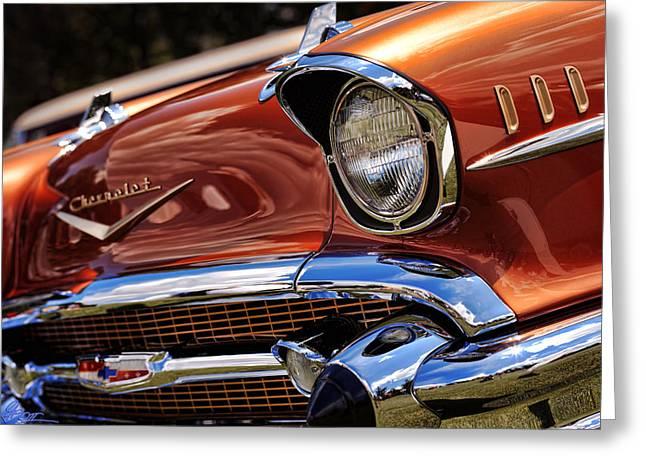 Copper 1957 Chevy Bel Air Greeting Card by Gordon Dean II