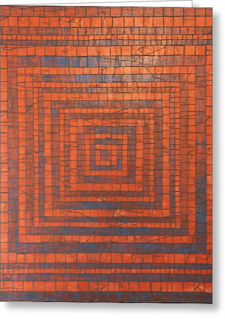 Fetters Greeting Cards - Copper and Cerulean Crack Greeting Card by Tracy Fetter