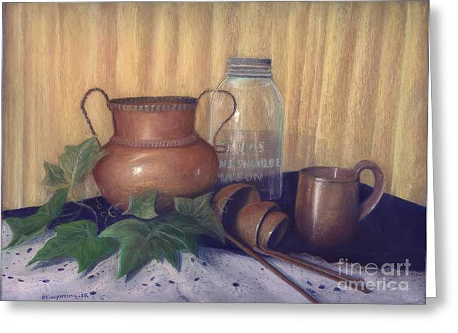 Still Life Photographs Pastels Greeting Cards - Copper and Glass Greeting Card by Penny Neimiller