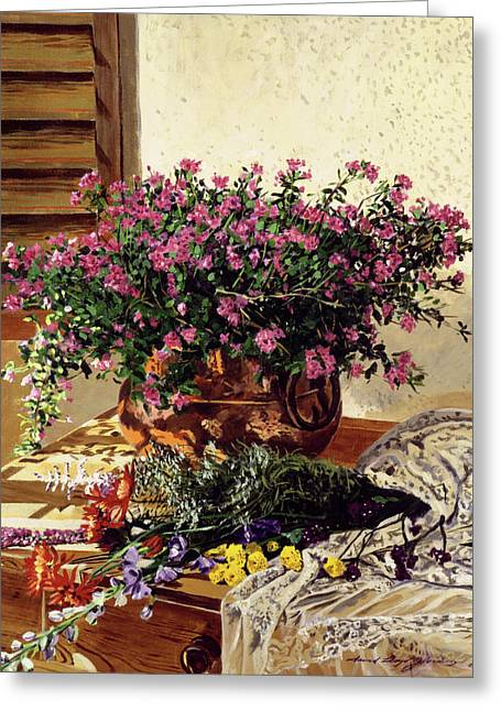 Still Life Views Greeting Cards - Copper and Lace Greeting Card by David Lloyd Glover