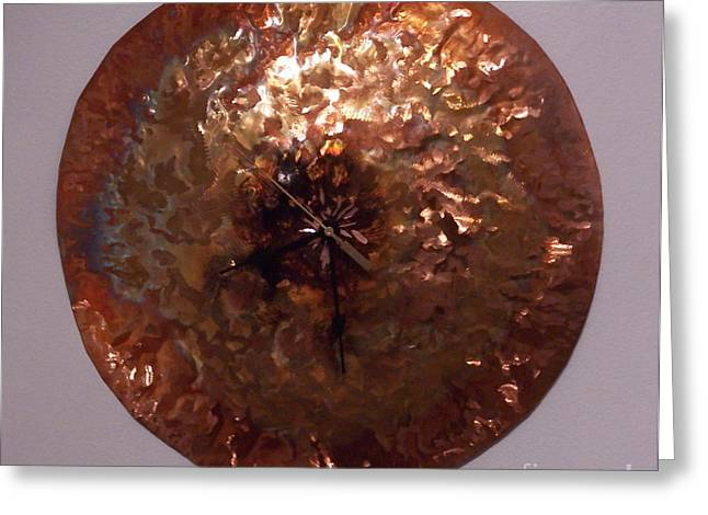 Clock Reliefs Greeting Cards - Copper Clock Greeting Card by Jeff  Williams