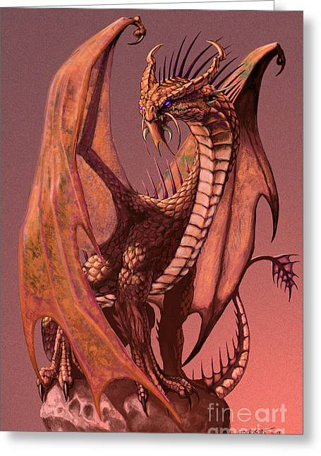 Dragon Greeting Cards - Copper Dragon Greeting Card by Stanley Morrison