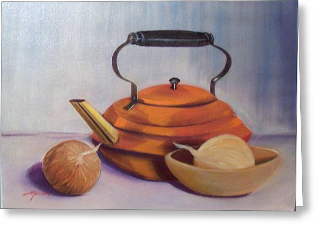 Wooden Bowls Paintings Greeting Cards - Copper kettle Greeting Card by Helen Thomas