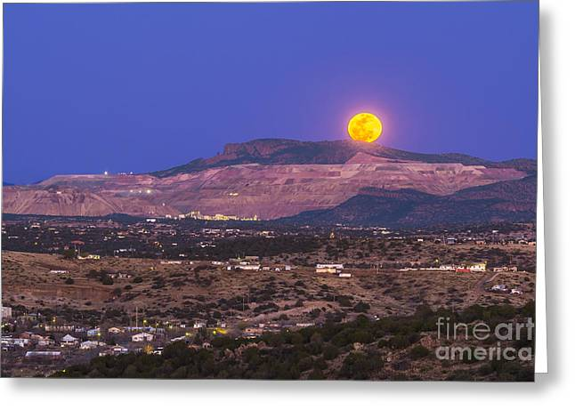 Silver City Greeting Cards - Copper Moon Rising Over The Santa Rita Greeting Card by Alan Dyer