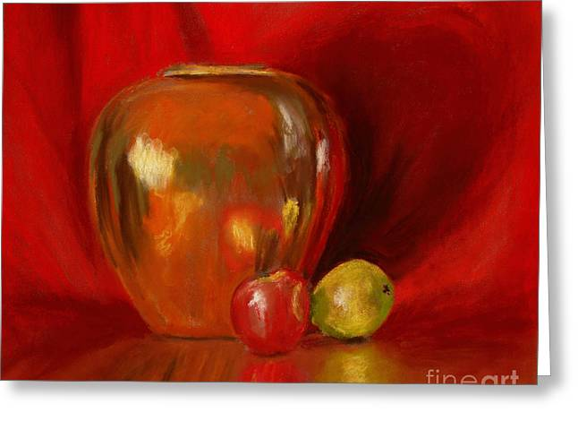 Copper Pot And Fruit Greeting Card by Mary Benke