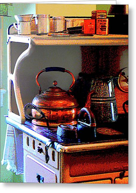 Cuisine Greeting Cards - Copper Tea Kettle on Stove Greeting Card by Susan Savad