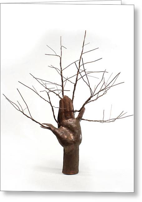 Fantasy Sculptures Greeting Cards - Copper Tree Hand a sculpture by Adam Long Greeting Card by Adam Long