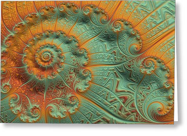 Geometrical Art Greeting Cards - Copper Verdigris Greeting Card by Susan Maxwell Schmidt