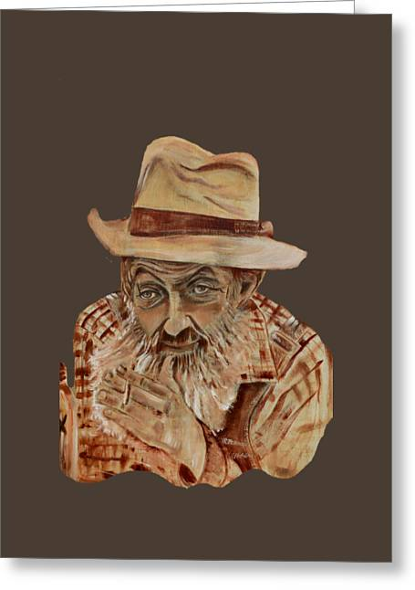 Sutton Paintings Greeting Cards - Coppershine Popcorn Bust - T-shirt Transparency Greeting Card by Jan Dappen