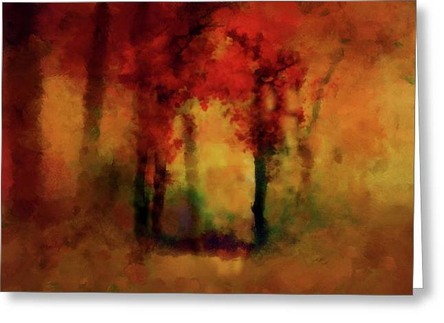 Valzart Greeting Cards - Coppery Woodland Greeting Card by Valerie Anne Kelly