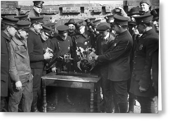 New York City Police Greeting Cards - Cops Learn Motorcycle Engines Greeting Card by Underwood Archives
