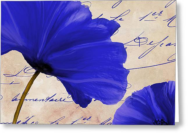 Cobalt Blues Greeting Cards - Coquelicots Bleue II Greeting Card by Mindy Sommers