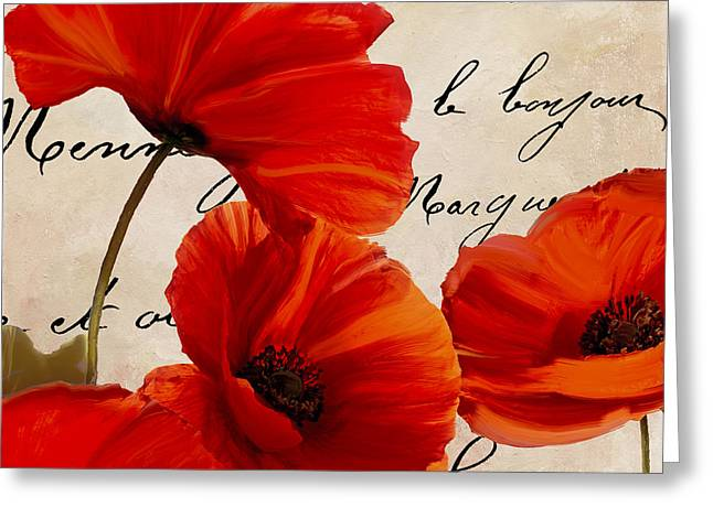 California Poppy Greeting Cards - Coquelicots Rouge I Greeting Card by Mindy Sommers