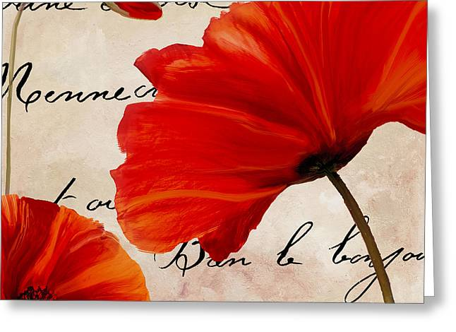 California Poppy Greeting Cards - Coquelicots Rouge II Greeting Card by Mindy Sommers