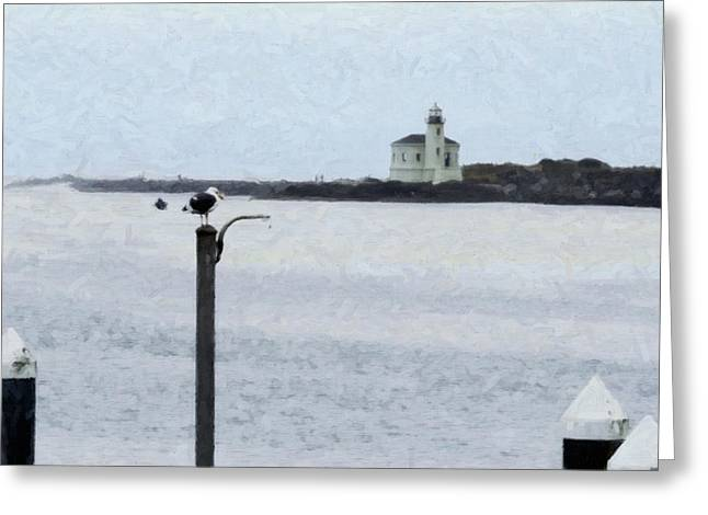 Foggy Ocean Greeting Cards - Coquille Lighthouse Greeting Card by Betty LaRue