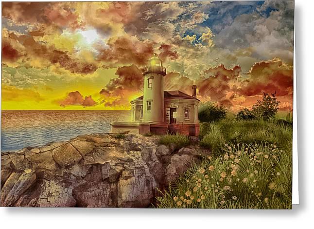 Oregon Lighthouse Image Greeting Cards - Coquille River Lighthouse 4 Greeting Card by MB Art factory