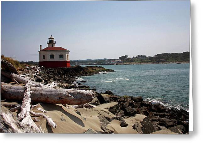 Caost Greeting Cards - Coquille River Lighthouse Greeting Card by Kami McKeon