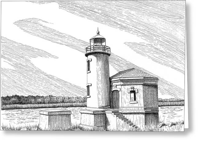 Coquille River Lighthouse Greeting Card by Lawrence Tripoli