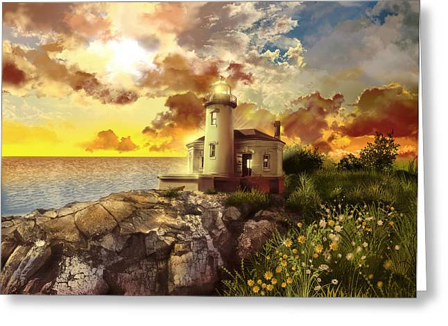 Surreal Images Greeting Cards - Coquille River Lighthouse Greeting Card by MB Art factory