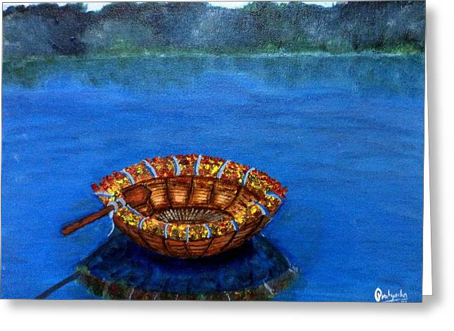 Lamdscape Greeting Cards - Coracle Greeting Card by Pratyasha Nithin