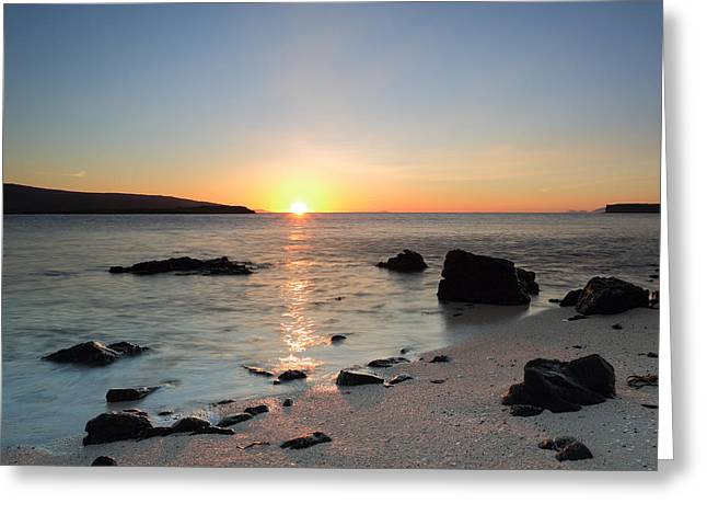Reflections Of Sky In Water Greeting Cards - Coral Beach at Sunset Greeting Card by Maria Gaellman