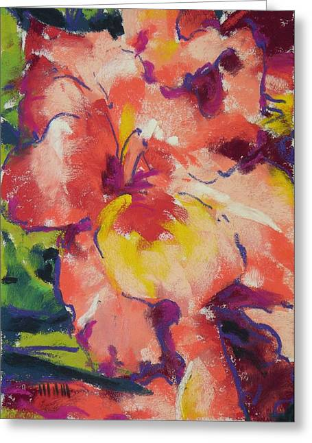 Gladiolas Pastels Greeting Cards - Coral Glad Greeting Card by Mary McInnis