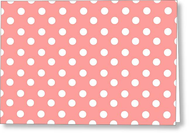Awesome Tapestries - Textiles Greeting Cards - Coral Pink Polka Dots Greeting Card by Bimbys Collections