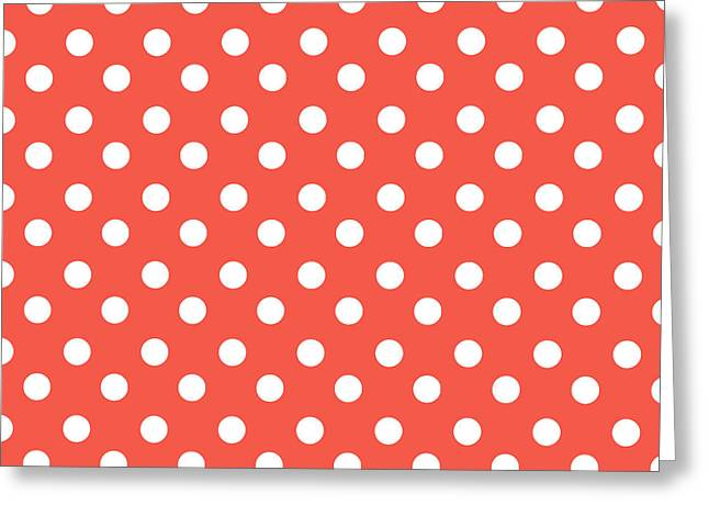 Awesome Tapestries - Textiles Greeting Cards - Coral Red Polka Dots Greeting Card by Bimbys Collections