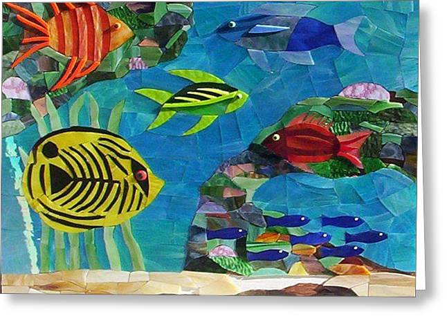 Tropical Stain Glass Glass Art Greeting Cards - Coral Reef Greeting Card by Charles McDonell