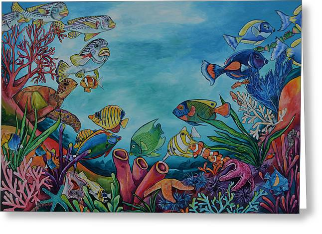 Reef Fish Greeting Cards - Coral Reef Greeting Card by Patti Schermerhorn