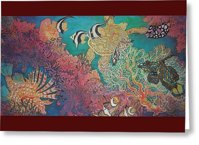 Aquatic Greeting Cards - Coral Reef Playground Greeting Card by Annelle Woggon
