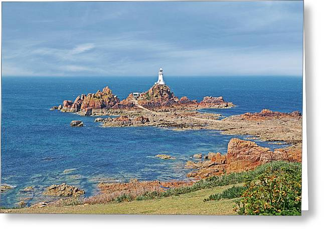 Gills Rock Greeting Cards - Corbiere Lighthouse Jersey Greeting Card by Gill Billington
