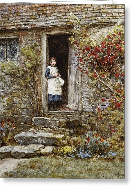 Best Sellers -  - Stepping Stones Greeting Cards - Corcorus Japonica Greeting Card by Helen Allingham