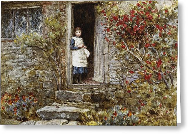 Corcorus Japonica Greeting Card by Helen Allingham