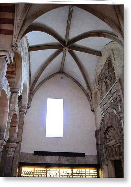 Cordoba Ancient High Ceiling Church Spain Greeting Card by John Shiron