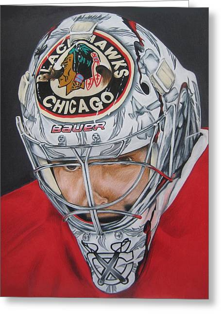 Straps Drawings Greeting Cards - Corey Crawford Greeting Card by Brian Schuster