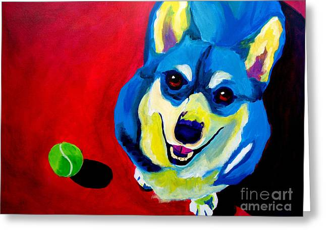 Alicia Vannoy Call Paintings Greeting Cards - Corgi - Play Ball Greeting Card by Alicia VanNoy Call
