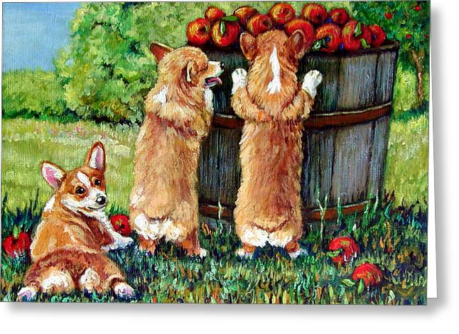 Apple Paintings Greeting Cards - Corgi Apple Harvest Pembroke Welsh Corgi puppies Greeting Card by Lyn Cook