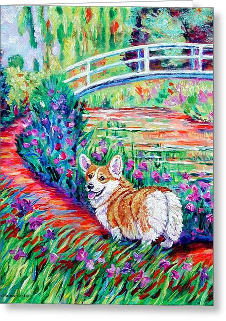 Puppies Paintings Greeting Cards - Corgi at the Japanese Bridge Greeting Card by Lyn Cook