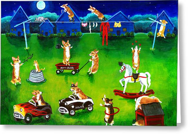 Corgis Greeting Cards - Corgi Backyard Circus Greeting Card by Lyn Cook