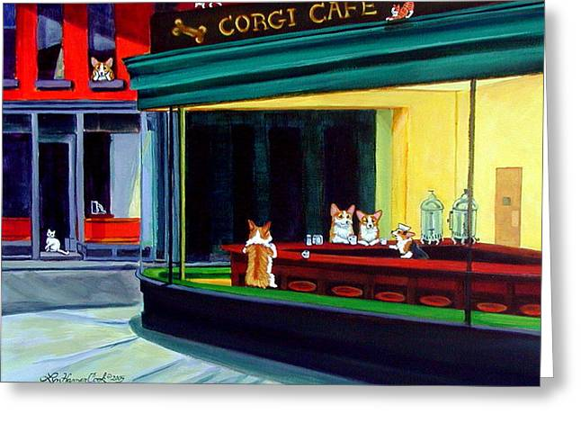 Dogs Paintings Greeting Cards - Corgi Cafe after Hopper Greeting Card by Lyn Cook